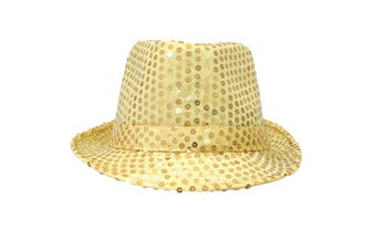 Trilby Sequin Fedora Hats Caps MJ Fancy Dress Up Dance Sequinned Party Costume [Colour: Fedora - Yellow]