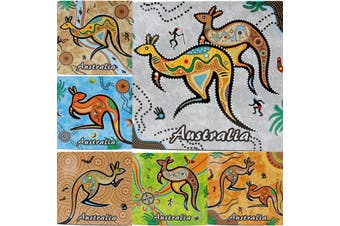 6x Australian Souvenir Drink Round Square Coaster Australia Flag Sydney Gift [Design: Square - Aboriginal Art]