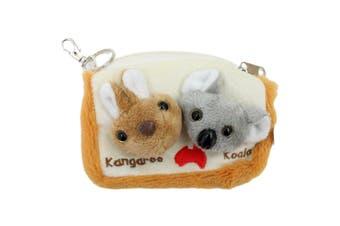 Australian Souvenir Soft Toy Coin Purse Pouch Bag Charm Kangaroo Koala Australia [Design: Kangaroo & Koala]