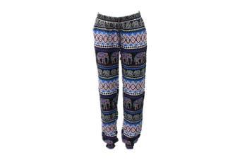Women's Harem Pants Long Comfy Loose Boho Slim Cuff Trousers Elephant Print - Blue [Size: S]