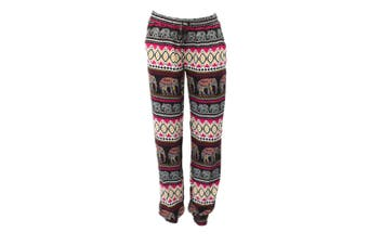 Women's Harem Pants Long Comfy Loose Boho Slim Cuff Trousers Elephant Print - Pink [Size: S]