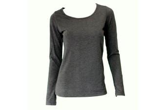 Women's Long Sleeve Crew Neck Soft Stretch T Shirt Tee Top Basic Plain Colours -Dark Grey