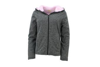 Sandy Beach Womens Hooded Jacket Coral Fur Lined Parka Coat Zip Up Fleece Winter - Dark Grey
