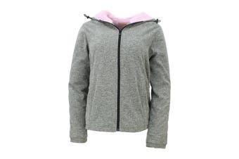 Sandy Beach Womens Hooded Jacket Coral Fur Lined Parka Coat Zip Up Fleece Winter - Light Grey