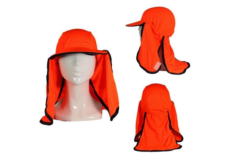 Mens Unisex Hi-Vis Safety Workwear Hat Eyelet Mesh Fluro Hat Elastic Orange [Colour: Orange]