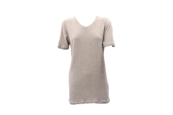 Women's Longline Tee Long T Shirt Short Sleeve Top 100% Cotton Casual Summer -Beige