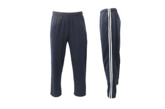 Men's Track Pants Casual Sports Jogging Bottoms Joggers Gym Sweats Trousers -Navy w White Stripes [Size:S]