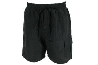 Mens Board Shorts Boardies Beach Swim Casual Elastic Waist Pockets -Black