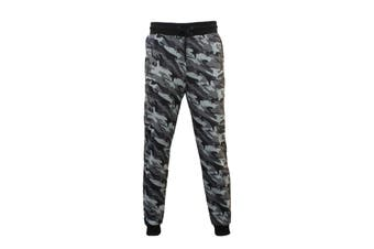 Mens Camouflage Track Pants Jogger Camo Gym Slim Fit Fleeced Trousers Military -Grey Camo