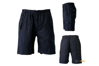 NEW Mens Cotton Drill Work Utility Casual Cargo Shorts B Black Tan Olive - Black