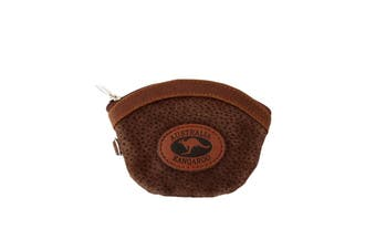 Australian Souvenir Coin Purse Pouch Bag 100% Genuine Suede Leather Australia [Design: Rounded – Dark Brown]