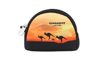 Australian Souvenir Coin Purse Pouch Bag Wallet Zip Australia Kangaroo Gift [Design: Style A - Kangaroo Sunset]