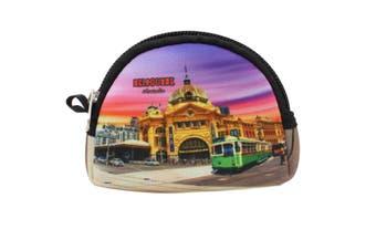 Australian Souvenir Coin Purse Pouch Bag Wallet Zip Australia Kangaroo Gift [Design: Style A - Melbourne]