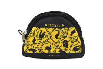 Australian Souvenir Coin Purse Pouch Bag Wallet Zip Australia Kangaroo Gift [Design: Style A - Road Signs]