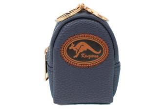 Australian Souvenir Coin Purse Pouch Bag Charm Tassel Key Ring Australia Gift [Design: Kangaroo - Navy]