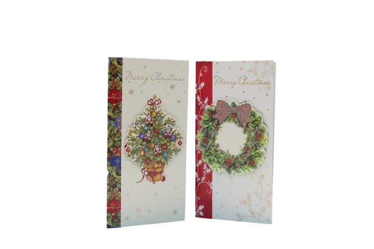 6x Christmas Xmas 3D Premium Greeting Cards w Envelopes Glitter Foil [Design: E]