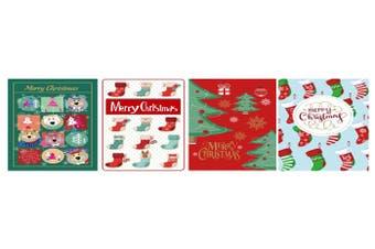 12pcs Bulk Pack Christmas Xmas Greeting Cards & Envelopes w Glitter Kids [Design: A]