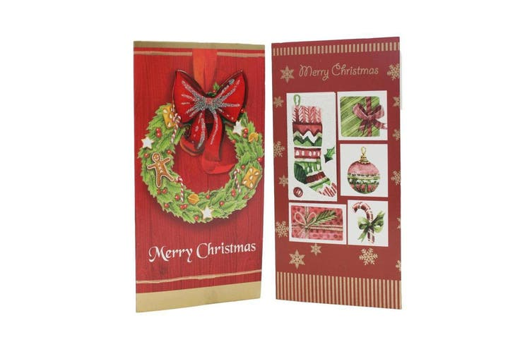6x Christmas Xmas 3D Premium Greeting Cards w Envelopes Glitter Foil [Design: B]