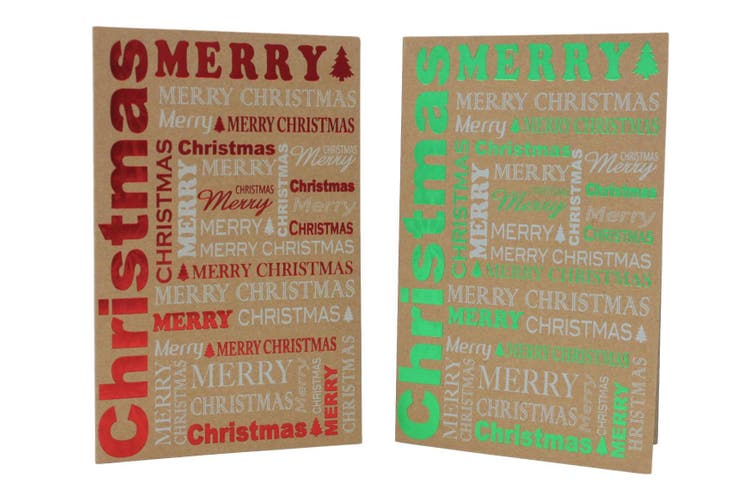 10x Christmas Xmas Greeting Cards & Envelopes w Gold Foil High Quality [Design: H]