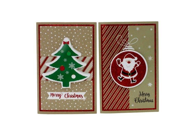 6x Christmas Xmas 3D Premium Greeting Cards w Envelopes Glitter Foil [Design: F]