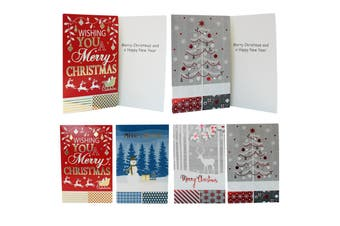 16x Christmas Xmas Greeting Cards & Envelopes w Glitter Foil [Design: F]