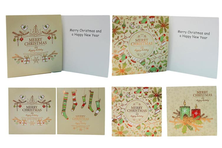 16x Christmas Xmas Greeting Cards & Envelopes w Glitter Foil [Design: H]