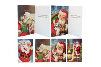 16x Christmas Xmas Greeting Cards & Envelopes w Glitter Foil [Design: G]