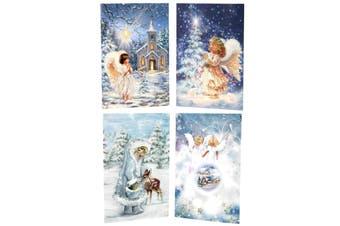 16x Christmas Xmas Greeting Cards & Envelopes w Glitter Foil  [Design: B]