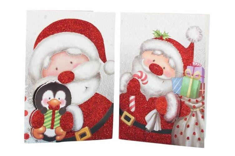 16x Christmas Xmas Greeting Cards & Envelopes w Glitter Foil [Design: K]