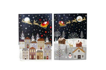 16x Christmas Xmas Greeting Cards & Envelopes w Glitter Foil [Design: D]