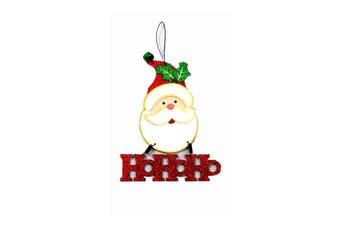 Christmas Xmas Hanging Decoration Décor w Glitter & Bell [Design: Santa]
