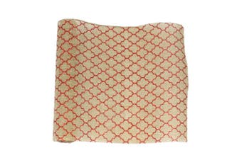 Christmas XMAS Burlap Hessian Roll Table Runner Wrap Craft Red Gold Glitter [Design: Moroccan_Red (36cm)]