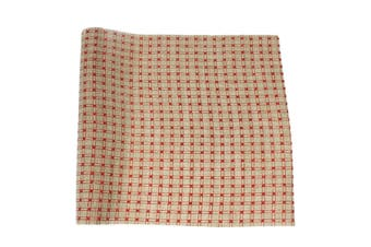 Christmas XMAS Burlap Hessian Roll Table Runner Wrap Craft Red Gold Glitter[Design: Regal_Red (48cm)]