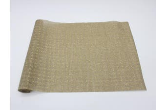 Christmas XMAS Burlap Hessian Roll Table Runner Wrap Craft Red Gold Glitter[Design: Regal (48cm)]