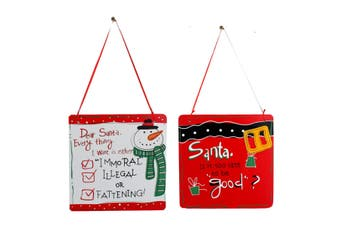 Set of 2 Christmas XMAS Hanging Plaque Signs Door Wall Decoration Dear Santa