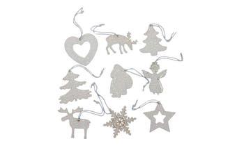 Set of 36 Christmas XMAS White Glitter Tree Ornaments Hanging Decorations Decor