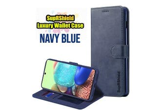 For Samsung Galaxy A71 5G (Not For Standard A71) Case SupRShield Wallet Leather Flip Magnetic Stand Case Cover (Navy Blue)