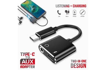 2in1 USB-C Adapter 2 in 1, USB Type C to 3.5mm Jack Headphones Aux Audio Splitter Charger USB C Adapter