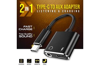 2in1 USB C Type C Splitter to 3.5mm Headphone Jack Adapter AUX & Sync Data Charge Cable