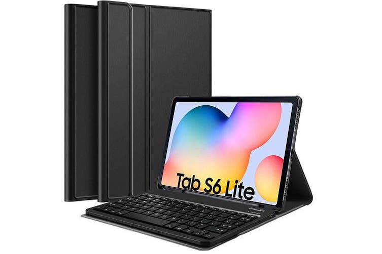 Samsung Galaxy Tab S6 Lite Bluetooth Keyboard Case, Tablet SM-P610/P615 Lightweight Protective Slim Folio Leather Smart Sleep Awake Cover Case with Detachable Wireless Bluetooth Keyboard Cover