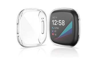 For Fitbit Versa 3 /Fitbit Sense Premium Soft Protective Silicone Gel Case Cover (Clear)