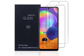 [2 PACK] Samsung Galaxy A31 Full Coverage Tempered Glass Screen Protector Guard (Clear)