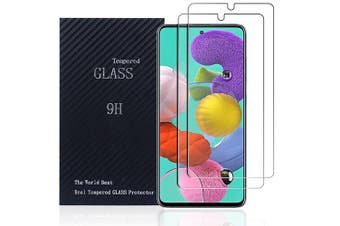 [2 PACK] Samsung Galaxy A51 Screen Protector Full Coverage Tempered Glass Screen Protector Guard (Clear) - Case Friendly