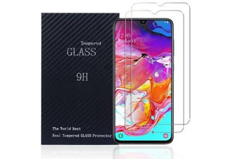 [2 PACK] Samsung Galaxy A70 Screen Protector Full Coverage Tempered Glass Screen Protector Guard (Clear) - Case Friendly