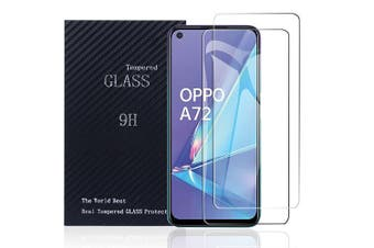 [2 PACK] Oppo A72 Full Coverage Tempered Glass Screen Protector Guard (Clear) - Case Friendly