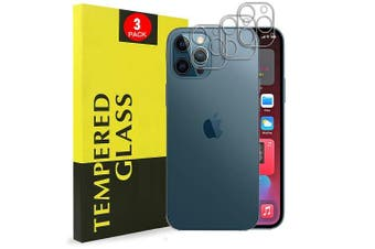 [3 PACK] Apple iPhone 12 Pro Camera Lens Tempered Glass Screen Protector Guard - Case Friendly