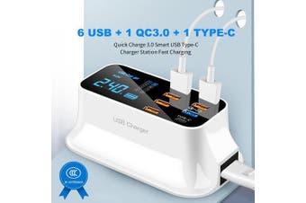 8 Port USB Charger HUB Quick Charge 3.0 LED Display Multi USB Charging Station Mobile Phone Desktop Wall Home AU Plug