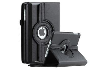 For Apple iPad 8th Gen Cover, iPad 8 Generation 10.2 2020 Leather Smart 360 Rotate Flip Stand Case Cover (Black)
