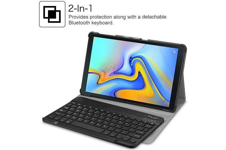 Samsung Galaxy Tab A 10.5 SM-T590/T595 Bluetooth Keyboard Case, Lightweight Protective Slim Folio Leather Smart Sleep Awake Cover Case with Detachable Wireless Bluetooth Keyboard(Black)