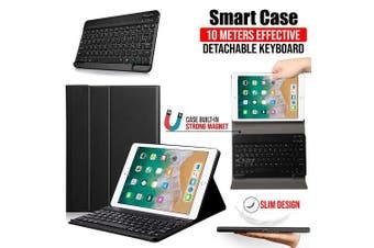 Apple iPad 6th Gen Generation 9.7 Inch 2018 Bluetooth Keyboard Case Cover, Lightweight Protective Slim Folio Leather Smart Sleep Awake Cover Case with Detachable Wireless Bluetooth Keyboard (Black)
